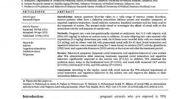 مقاله: اثرات شیر شتر بر فعالیت آنتی اکسیدانی موش صحرایی مبتلا به اوتیسم ناشی از اسید والپروئیک